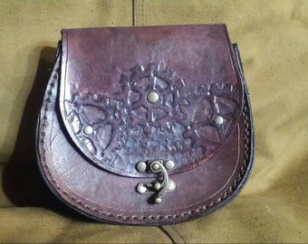 Hand-Tooled Leather Gears  Steampunk pouch
