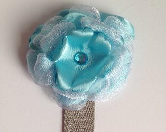 Blue Fabric Flower Bookmark