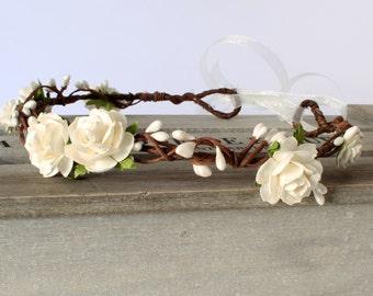 Ivory Flower Crown Wedding, White Flower Crown, Bridal Headdress, Flower Girl Flower Crown, Flower headband, bridal flower crown, boho crown