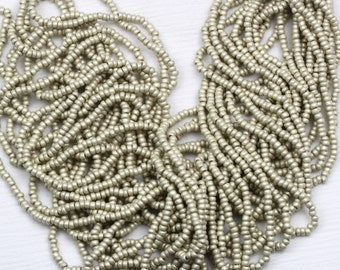 "LAST!!! 10/0 Brushed Metallic Silver Terra Color Czech seed beads - 1 hank - 12 / 20"""