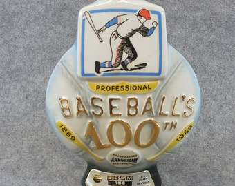 Jim Beam 100th Baseball Anniversary Whiskey Decanter 1969, Regal China - EMPTY