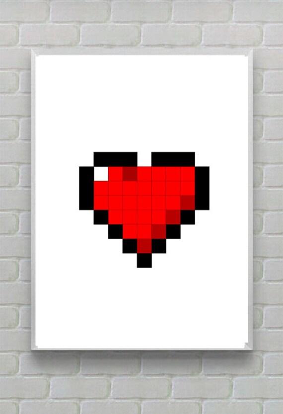 Pixel Art Heart Print Geeky Heart Print Printable Gift