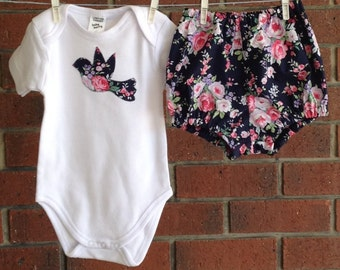Baby girl outfit in navy floral with bird applique onesie and diaper cover //  girl baby shower gift // size 3 6 12 18 months