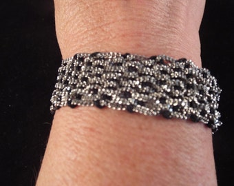 Mesh Sterling Silver Bracelet - Unusual 20.64  grams, free shipping, ethnic jewelry, vintage jewelry, 7""