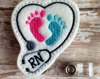 NICU retractable badge reel, Nurse felt badge reel, Nurse retractable badge reel, NICU nurse badge reel,  maternity badge reel, nurse gift