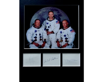 APOLLO 11 AUTOGRAPH photo display Neil Armstrong Buzz Aldrin Michael Collins