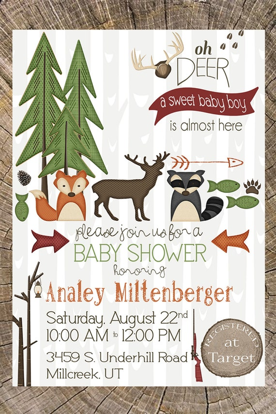 Outdoor Baby Shower Invitation Hunting Camping Animals