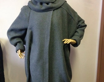Womens oversized coat, Grey loose coat, Shawl collar coat,Asymmetrical Blanket Coat,  Cape Coat