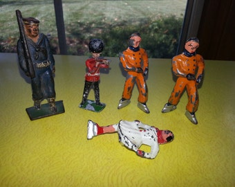 Antique 1930s Barclay Mantoil Lead Toy Figurines LOT OF FIVE