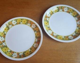 2 Vintage Mikasa Cera-Stone Dinner Plates in Daisies Pattern