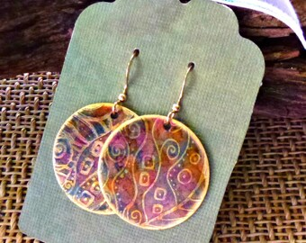 Handcrafted Etched Brass Earrings #70304