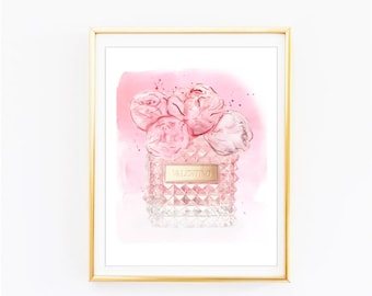 Fashion Print. Valentino Print Peonies Perfume. Watercolor artwork. Fashion Illustration. Modern Home Décor.