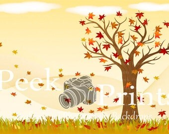 7ftx5ft Blustery Day- Fall Foliage and Autumn Colors Studio Vinyl Photography Backdrop - Photo Background