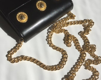 Vintage gold medallion purse w/long chain strap