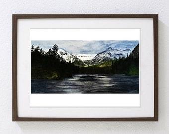 "Original watercolor "" Banff Rocky Mountains"""