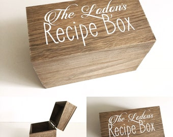 Personalized recipe box, recipe storage, wedding gift
