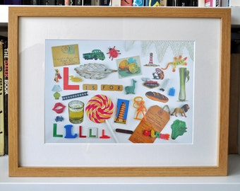 Limited Edition Alphabet Collage Print With Mount: L Is For...  Original, Vintage-Themed, Unframed
