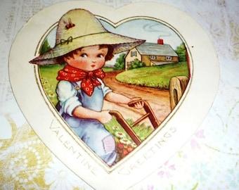 on sale Vintage 1930s Valentine With Little Farmer Boy
