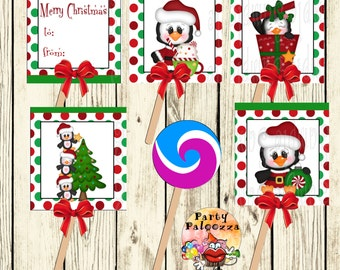 Printable Christmas penguin  lollipop covers