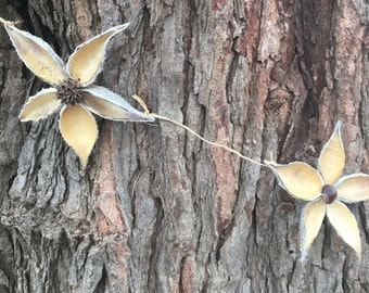 Natural Milkweed and Sweetgum Flower Garland