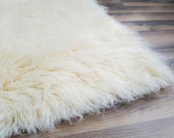 Flokati Area Rug, 8ft x 10ft, Natural, 100% Wool Shag Rug