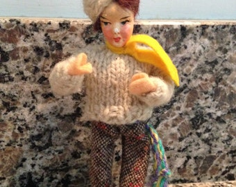 Little Man Figure with Hand Painted Face and Woolen Clothing