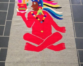 Large Wool Colorfully Adorned Indian Rug