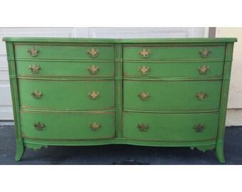 Green Distressed 6 drawer Dresser, Nursery Changing Table, Credenza, TV Stand, Buffet- PORTFOLIO