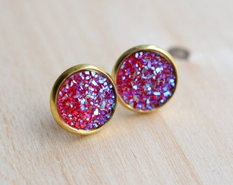 Hot Pink Druzy Earrings - Pink Druzy Earrings - Pink Druzy Studs - Silver Druzy Earrings - Druzy Stud - Druzy Post Earrings - Pink Earrings
