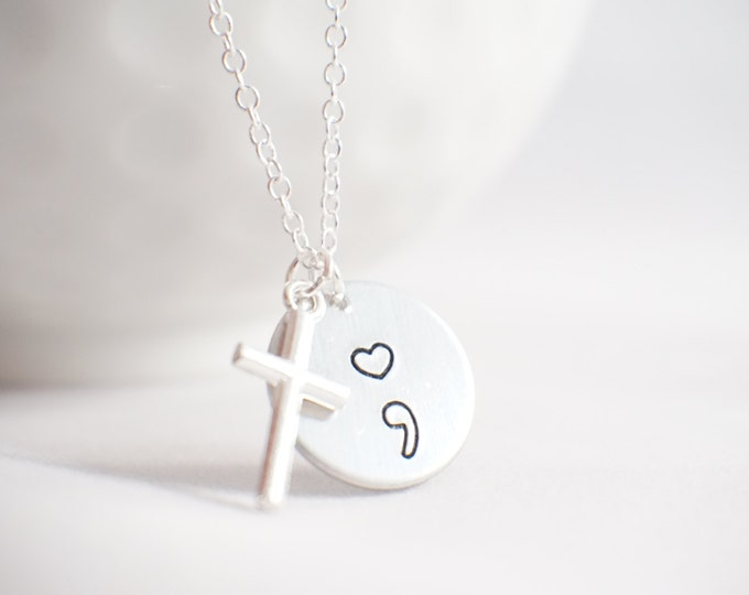 Featured listing image: Semi Colon Necklace - My Story Isn't Over - My story isn't over yet - Cross necklace