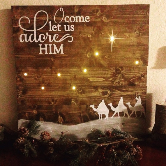 Oh Come Let Us Adore Him Wood Signs Christmas Signs Wood: Wise Men Sign O Come Let Us Adore Him Sign Christmas Decor