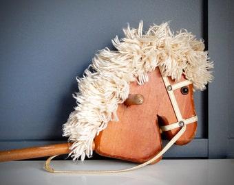 Vintage Children's Wooden Stick Horse / Hobby Horse / Stick Horse / Hardwood Pole / Vinyl Handle & Bridle / Ivory Yarn Mane