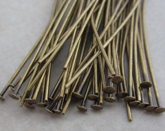 100 antique brass 2 inch headpins 21 gauge