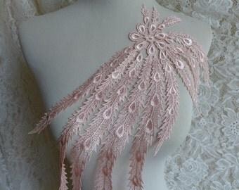 Pink color, venise lace applique, bridal applique, pink applique lace trim