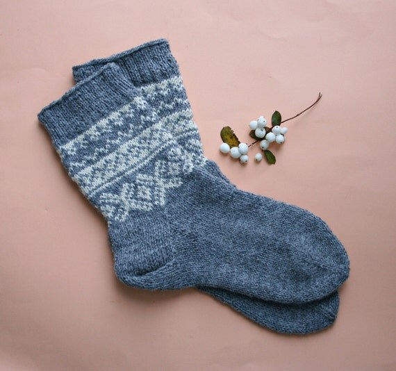 Knitting Pattern Wool Socks : Hand knit wool socks Knit patterned socks Norwegian wool
