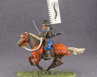 Hand Painted Collectible Figurine  Cavalry. Medieval Samurai XVI century.  Metal tin miniature 54 mm 1/32 - Free Shipping