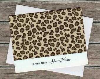 Safari Animal Print Personalized Note Cards, Assorted Set of 5, Blank Inside, Leopard, Zebra, Giraffe