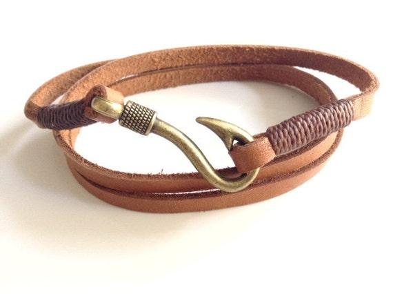 Wrap bracelet mens leather bracelet bronze fish hook men for Mens fishing bracelet