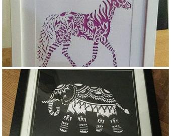 Papercutting Horse Pony or Elephant Gift