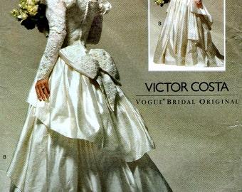 Vogue 2783 VICTOR COSTA Off-Shoulder Waterfall Train Bridal Gown Sz 6-8-10 Sewing Pattern ©1992 OOP Uncut