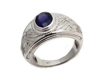 Men's Ring 925 Sterling Silver Water Sapphire ( iolite ) Gemstone Men's Ring