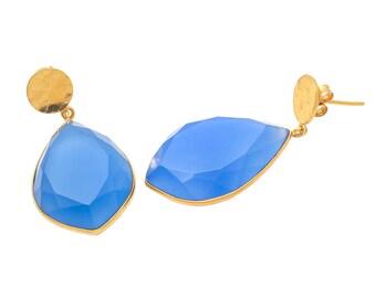 Earring 925 Sterling Silver Blue Chalcedony gemstone Earrings-Vermeil Gold