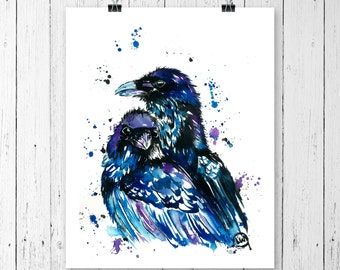 RAVEN PRINT, raven art, raven watercolour, raven watercolor, raven painting, bird art, bird print, bird painting. canadian artist,