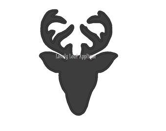 Deer Antler Silhouette Applique Design