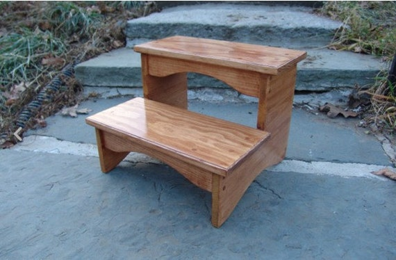 Handcrafted Heavy Duty Step Stool Wooden Adult Bedside