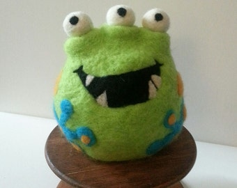 Felted, Weighted Monster, Novelty Bookend, Doorstop, Paperweight, Decoration
