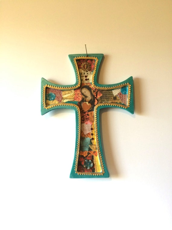 Items Similar To Wooden Cross Collaged Cross Mixed Home Decorators Catalog Best Ideas of Home Decor and Design [homedecoratorscatalog.us]