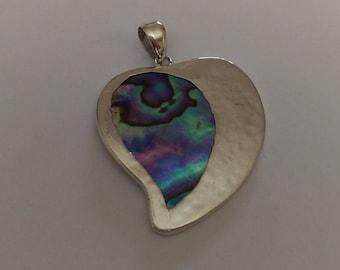 Handmade Sterling 925 silver and NZ Paua pendant.