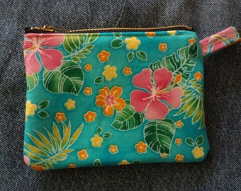 "Handmade ""Hawaiian"" Denim Coin Purse"