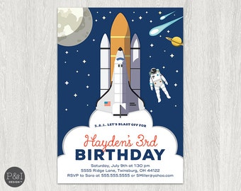 Space Astronauts Birthday Party Invitation | Outer Space Birthday | Any Age |  DIY | Blast Off Invitation |Customized Printable